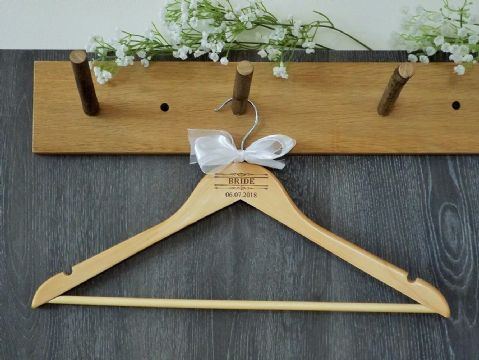 Personalised Wooden Wedding Hanger with Bow, Bride Bridesmaid - Scroll